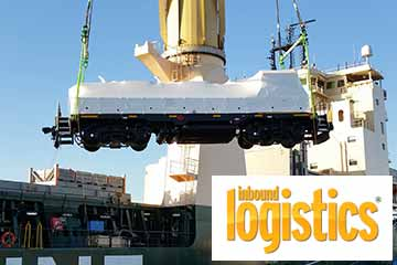 Picture of LEAF locomotive being unloaded from a ship with Inbound Logistics logo.