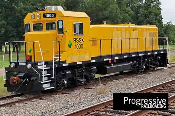 Picture of the Railserve LEAF with Progressive Railroading logo