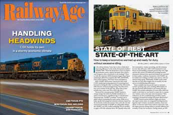 Picture of the Railways Age cover and the first page of the article